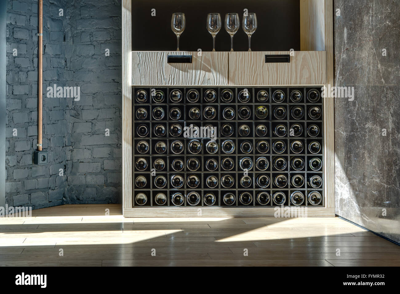 Special shelf for storing wine - Stock Image