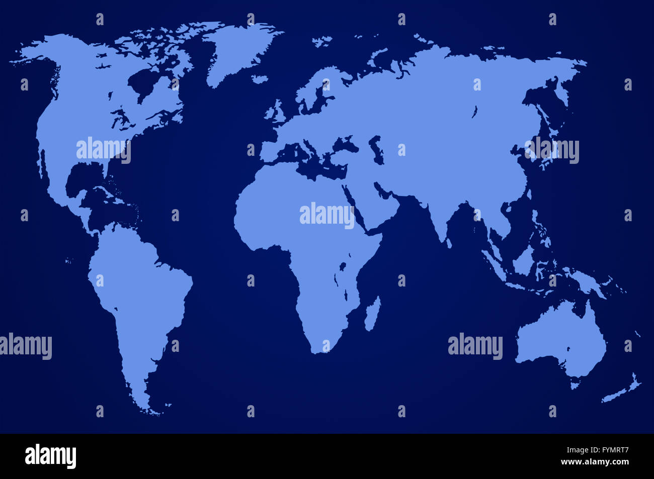 dark blue world map, isolated - Stock Image