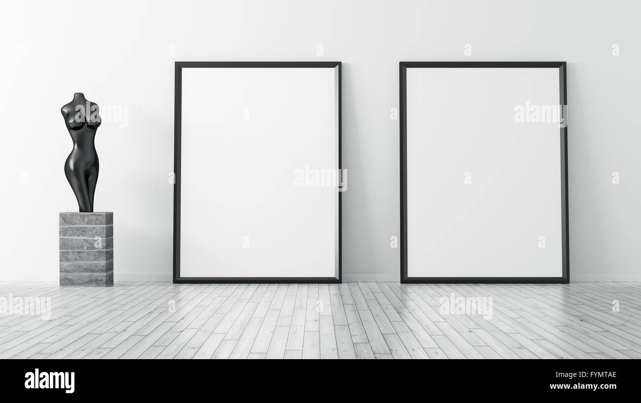 Interior with two frames and statue background 3d rendering Stock ...