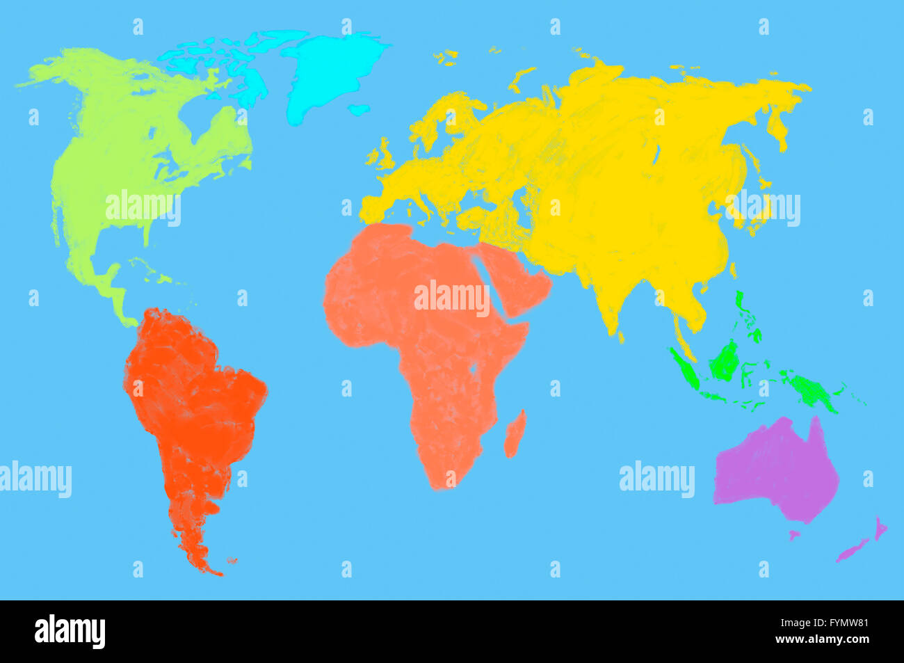 multicolored world map, isolated - Stock Image