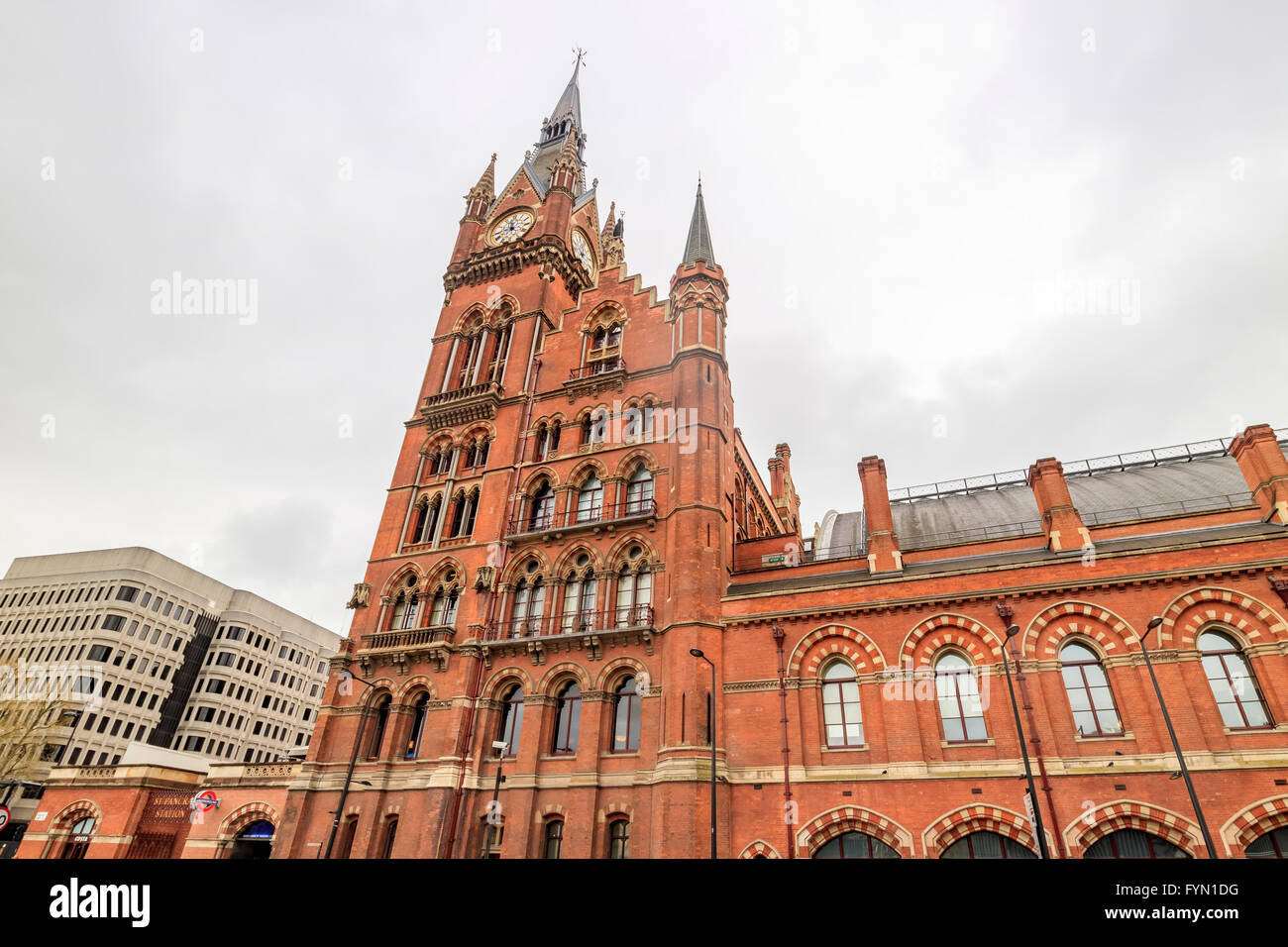 The historical St Pancras International station in a cloudy day - Stock Image
