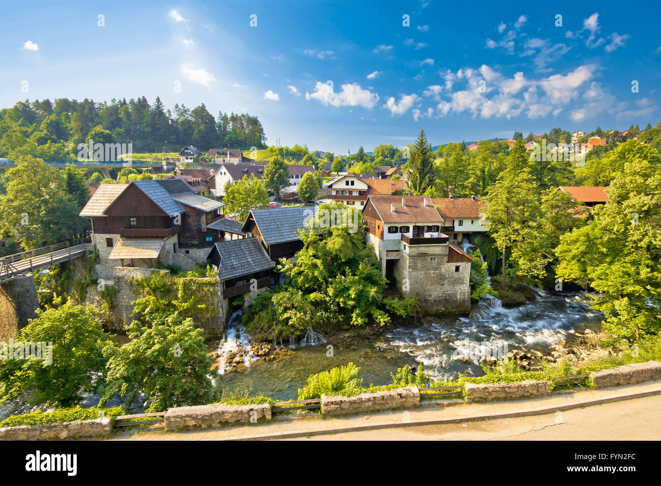 Rastoke village in green nature Stock Photo
