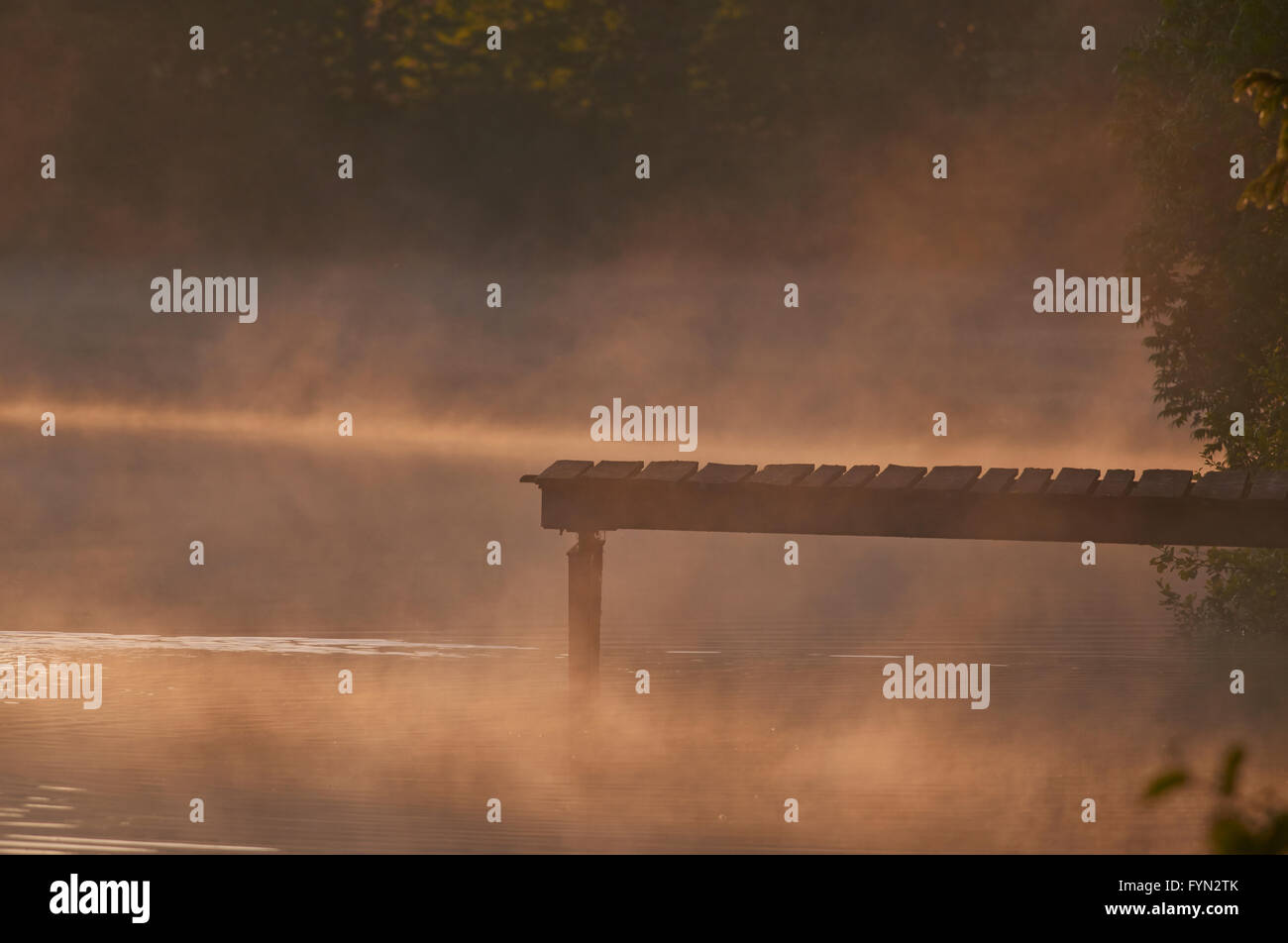A misty morning on the lake - Stock Image