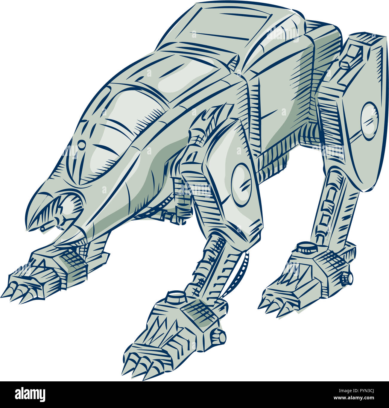 Mecha Bot High Angle Etching - Stock Image