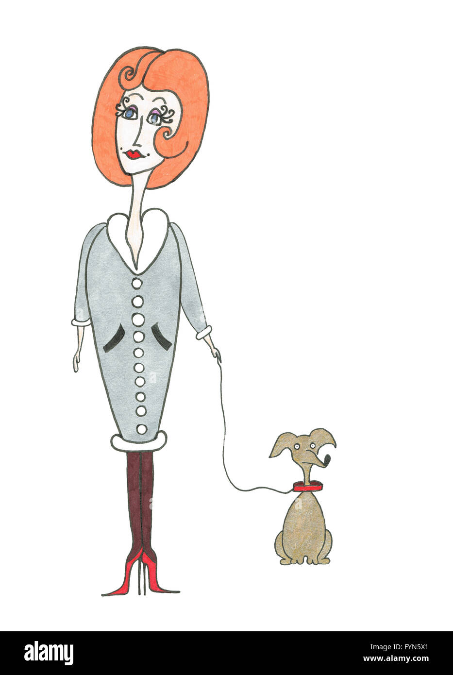 Lady with a dog. Illustration. - Stock Image