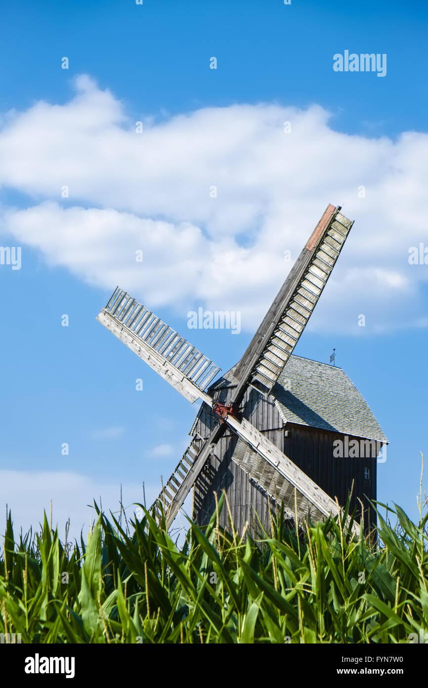 Post mill Beelitz, Brandenburg, Germany - Stock Image