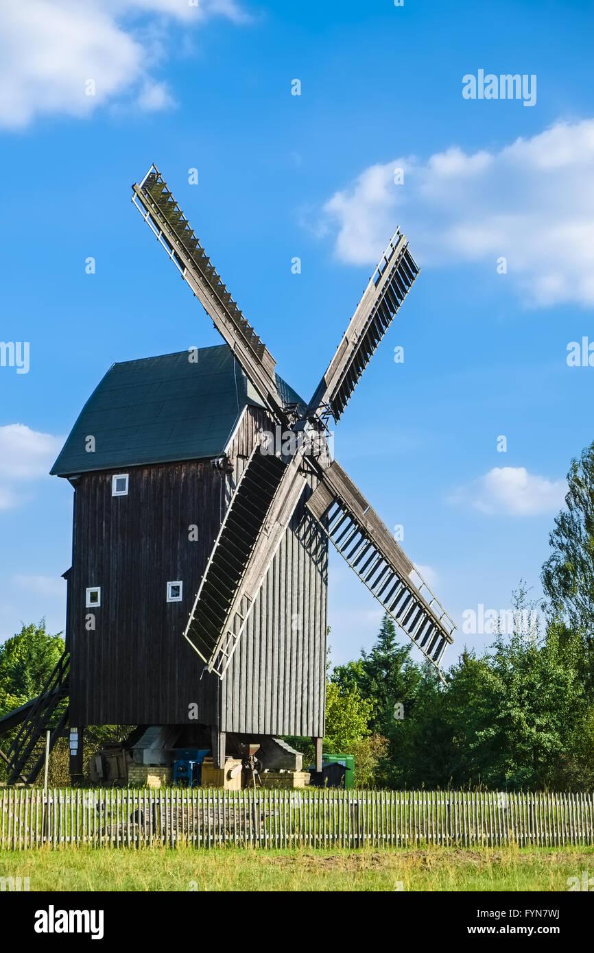 Post mill Cammer, Brandenburg, Germany - Stock Image