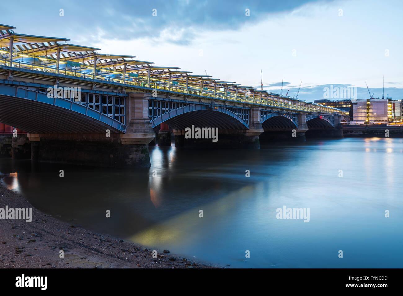 London Blackfriars national rail bridge, station to have platforms that span the river Thames. - Stock Image