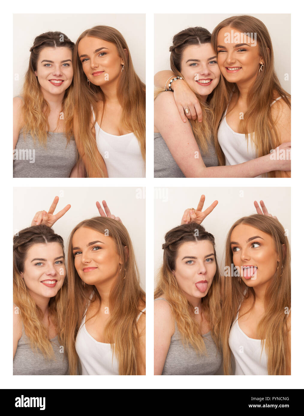 Two girls messing about in a sequence of passport style pictures. - Stock Image