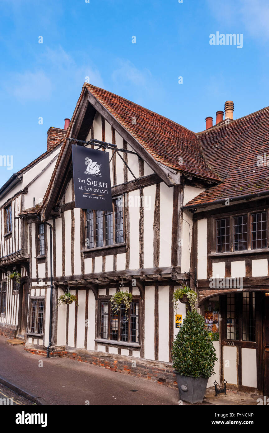 The famous Swan Hotel in the picturesque village of Lavenham , Suffolk , England , Britain , Uk - Stock Image