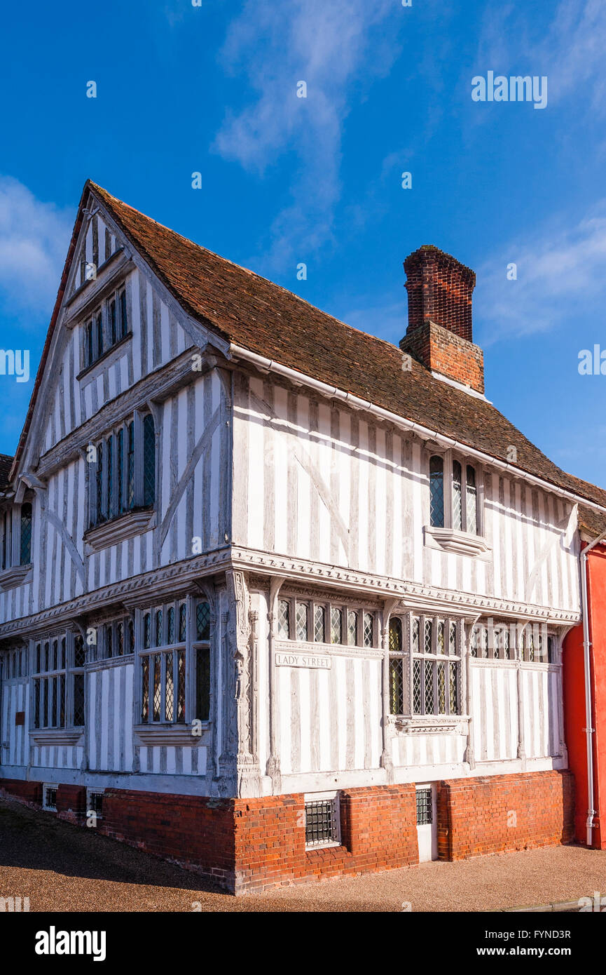 The famous Guildhall in the picturesque village of Lavenham , Suffolk , England , Britain , Uk - Stock Image