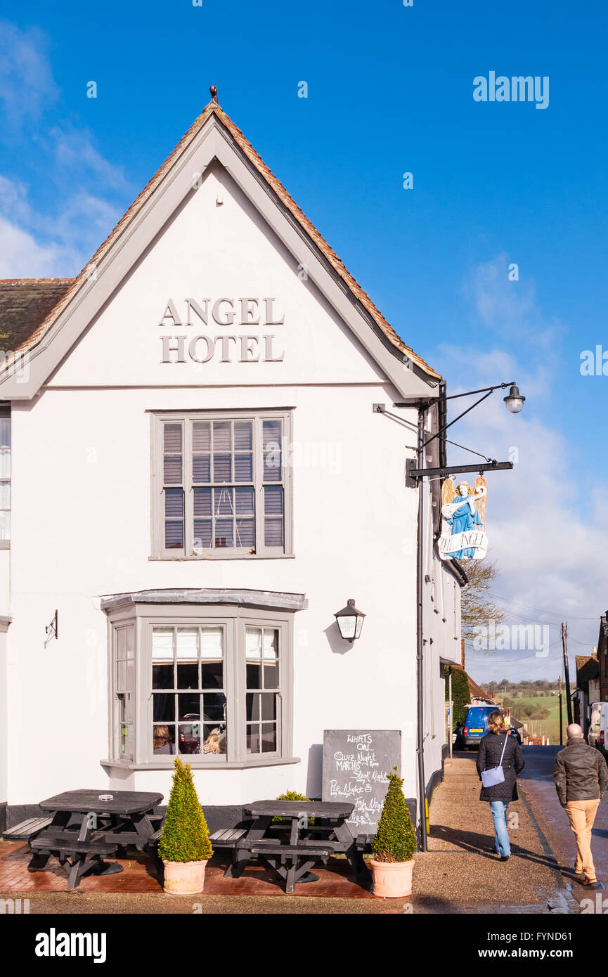 The Angel Hotel in the picturesque village of Lavenham , Suffolk , England , Britain , Uk - Stock Image