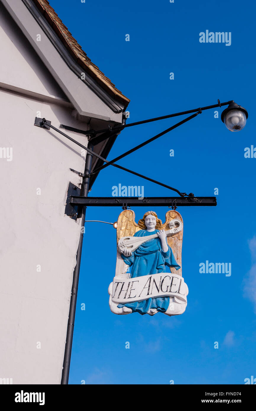 The Angel Hotel pub sign in the picturesque village of Lavenham , Suffolk , England , Britain , Uk - Stock Image