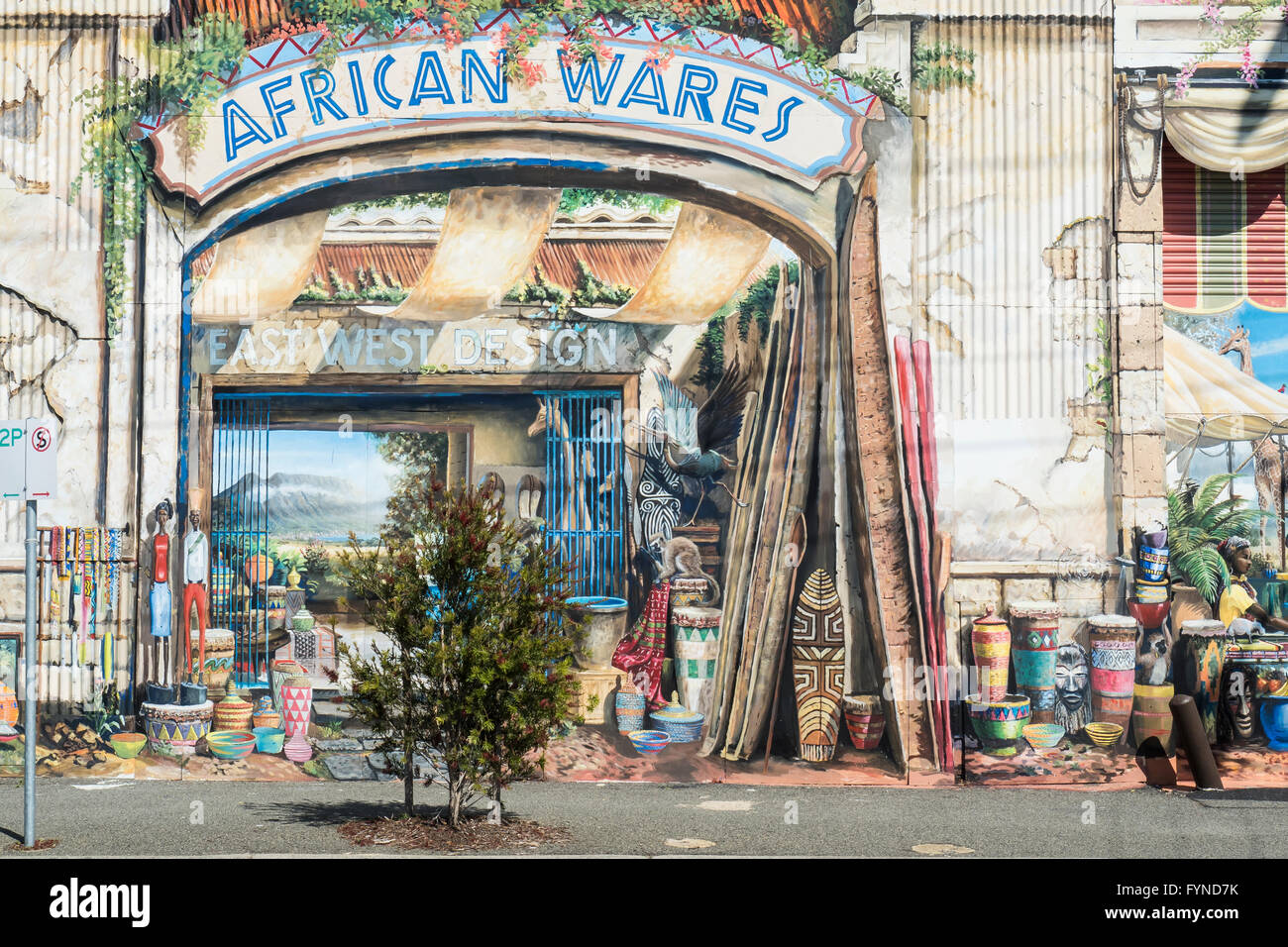 Painted Mural Frontage, East West Design, South Terrace, South Freemantle, Perth, Western Australia - Stock Image