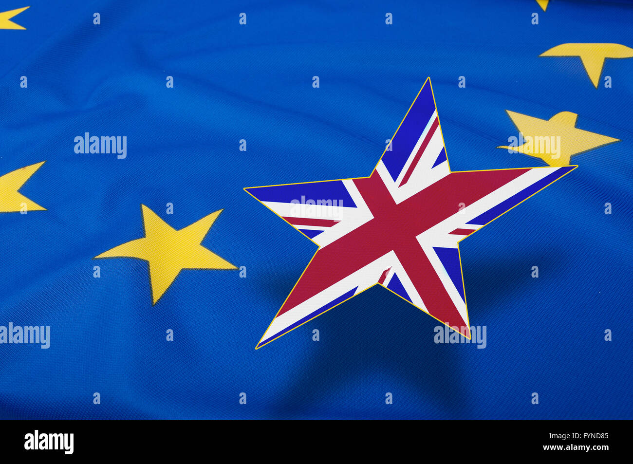 Brexit – European Union Flag Drapery With Great Britain Leaving - Stock Image