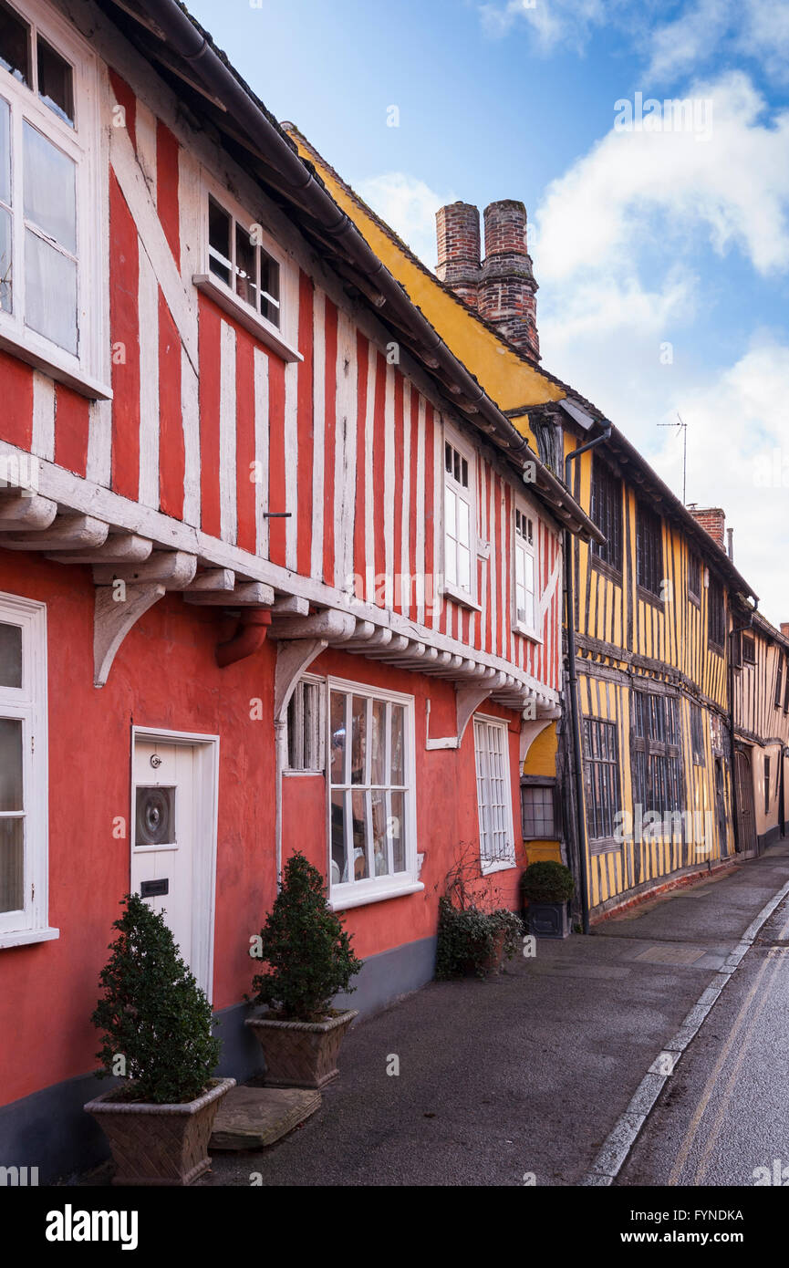 Pretty timber framed houses in the picturesque village of Lavenham , Suffolk , England , Britain , Uk - Stock Image