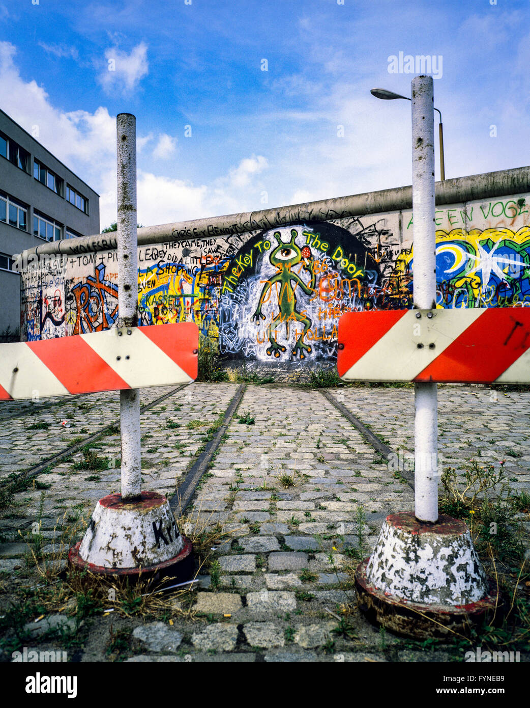 August 1986, Berlin Wall graffitis, tram track ending into wall, bollards, West Berlin side, Germany, Europe, - Stock Image