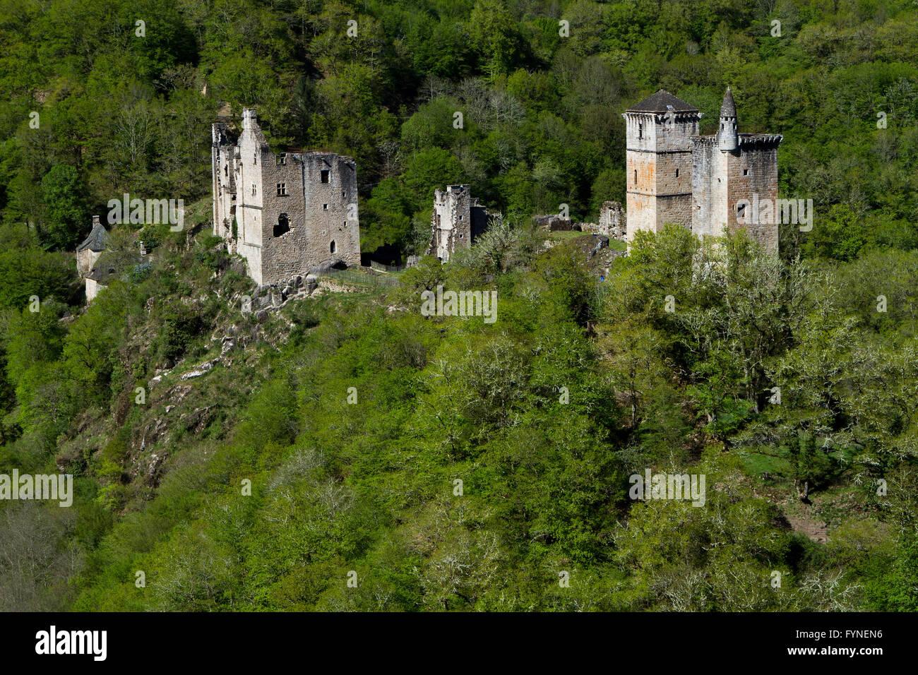 Les Tours de Merle 12th century Medieval castle in Corrèze, Aquitaine Limousin Poitou Charentes France - Stock Image