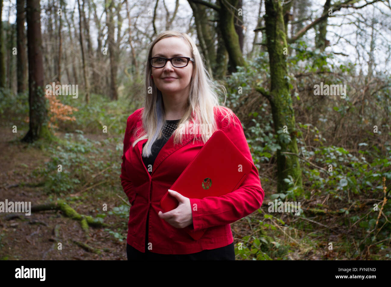 CAERPHILLY SOUTH WALES UK 1.March 2016,  Catherine Woods of Green Valley Moves takes inspiration from nature on - Stock Image