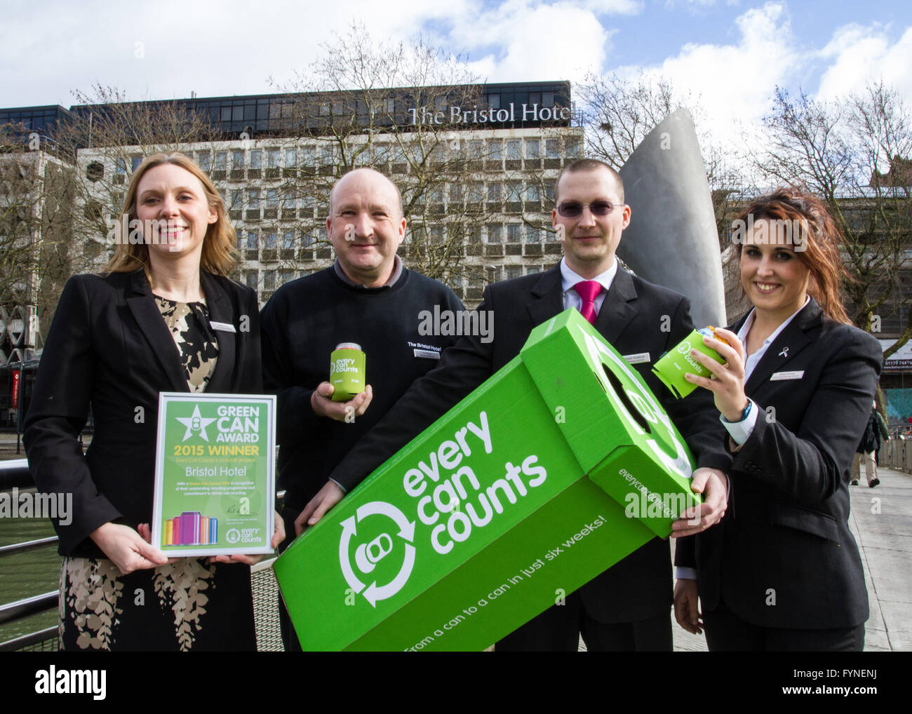the Bristol hotel wins a award fro collecting cans - Stock Image