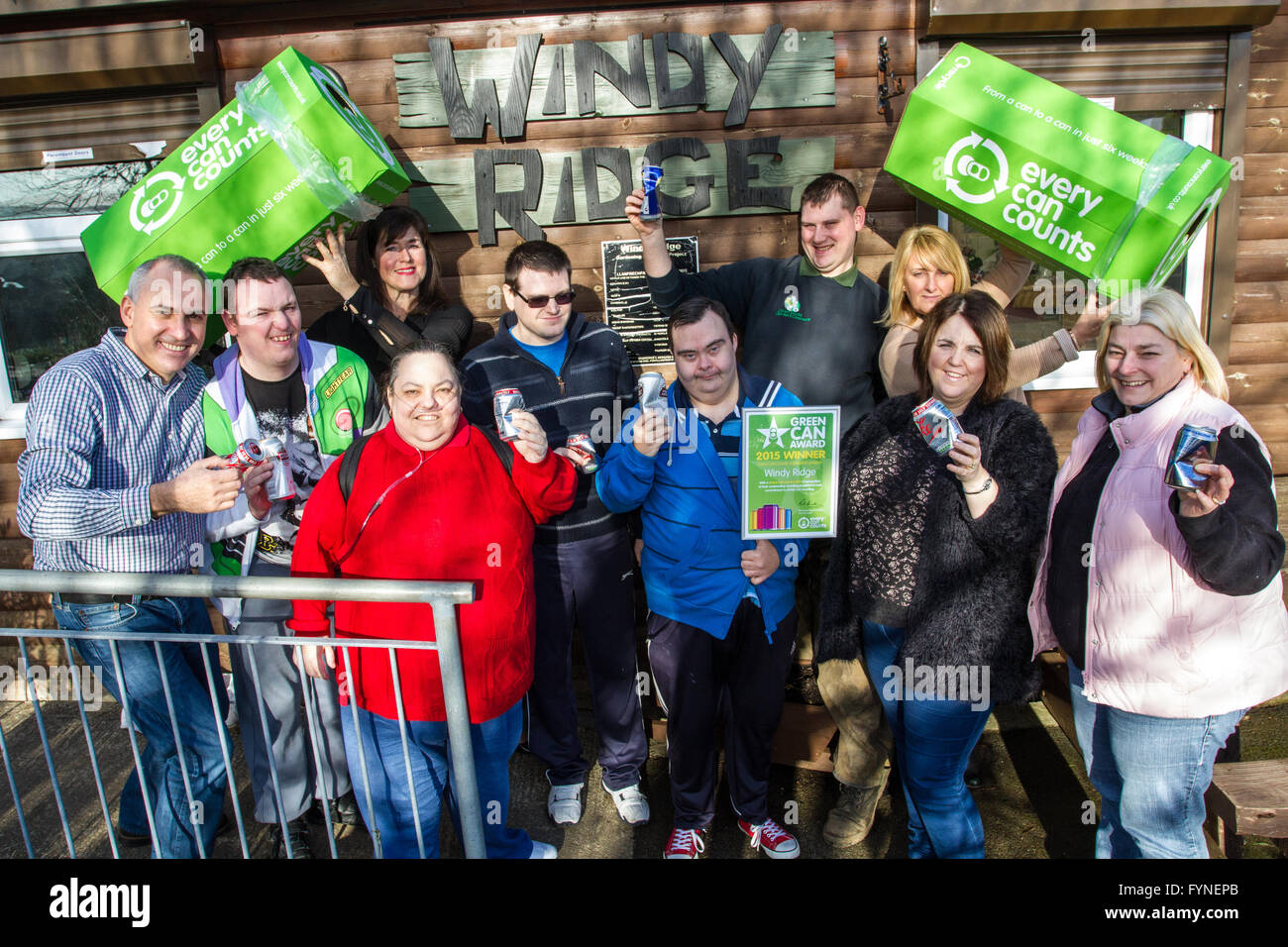 Windy Ridge allotment wins a award fro collecting cans - Stock Image