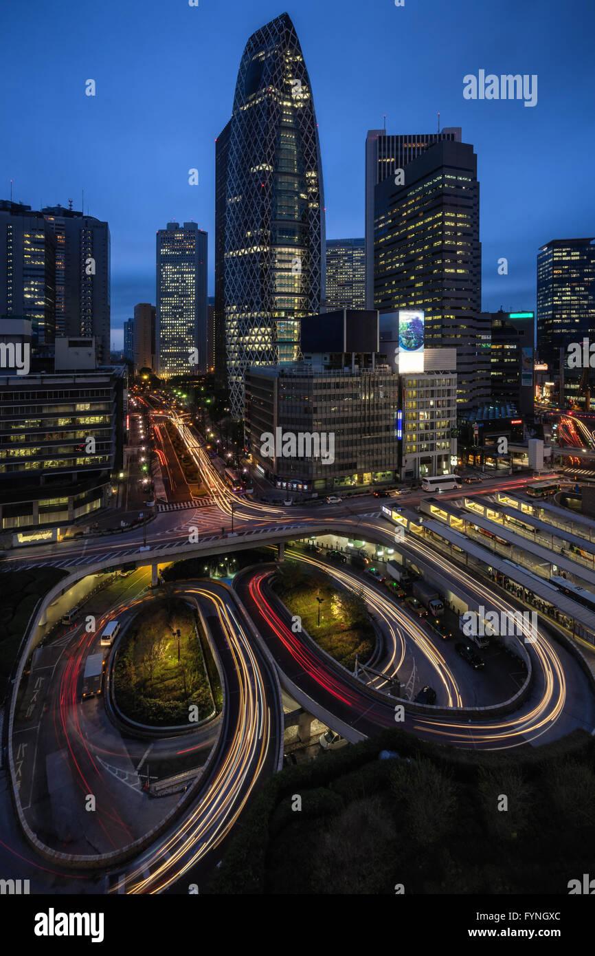 Road in Shinjuku, Tokyo, Japan - Stock Image