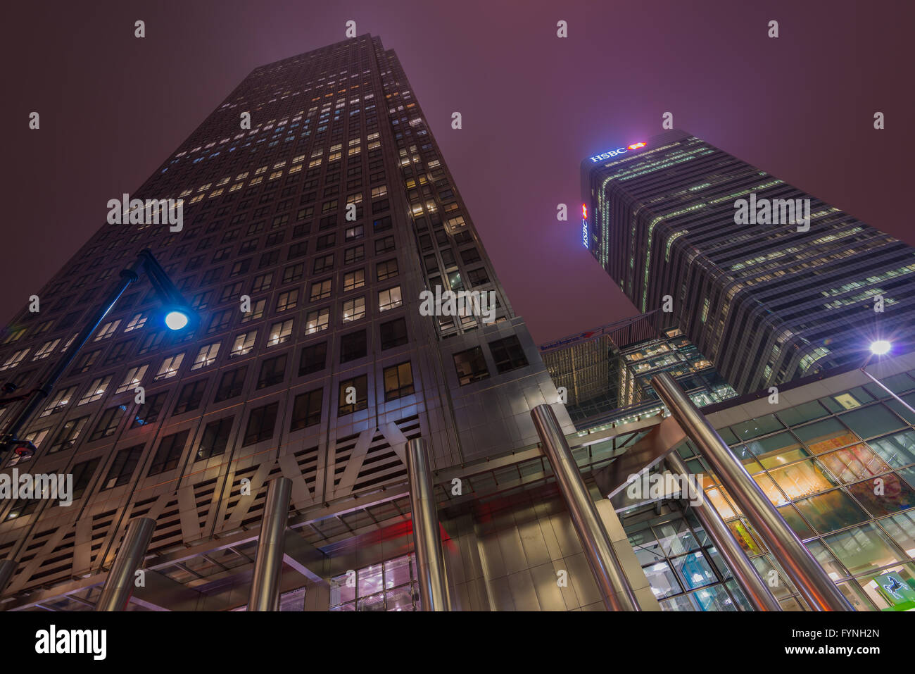Office buildings in Canary Wharf, London, United Kingdom - Stock Image