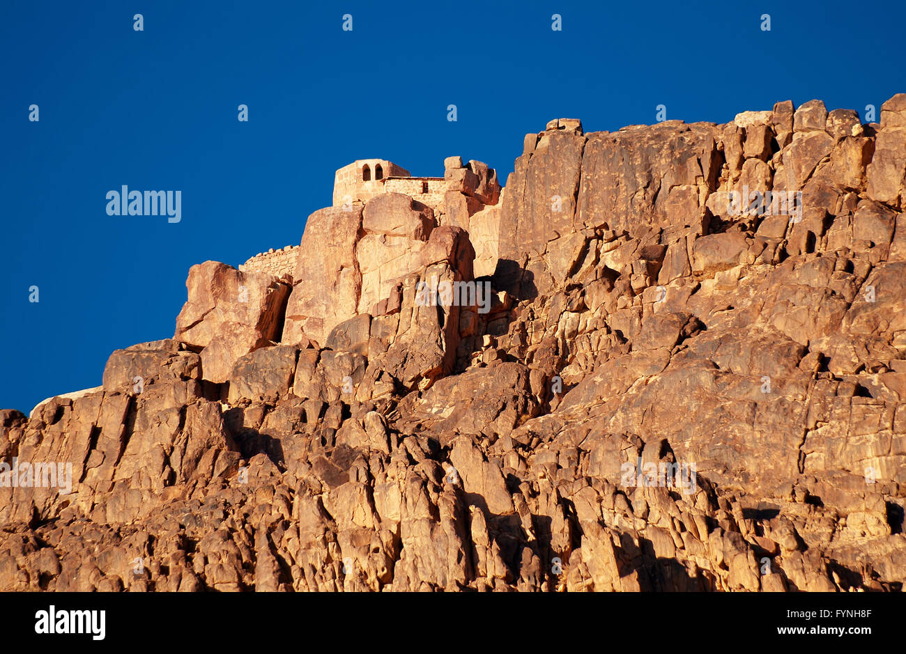 Greek orthodox chapel on mount sinai / moses mountain at 2285m in Egypt - Stock Image