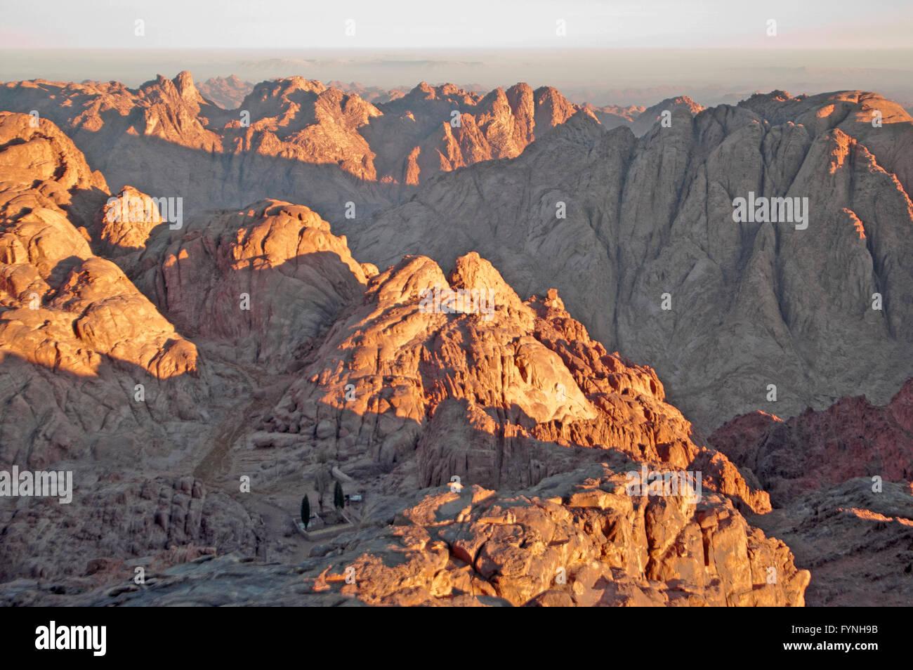 Panorama rocks of holy ground Mount Sinai in the morning - Stock Image