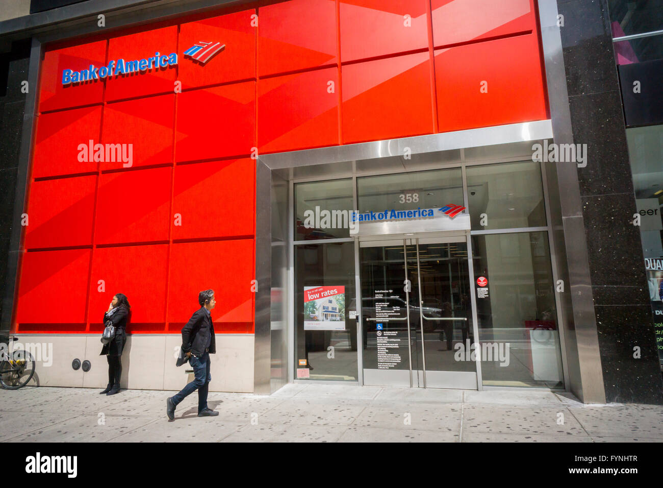 A branch of Bank of America in New York on Tuesday, April 26, 2016. Bank of America is to hold its annual shareholder - Stock Image