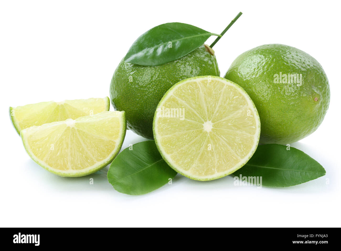 Lime limes slice organic fruits isolated on a white background - Stock Image