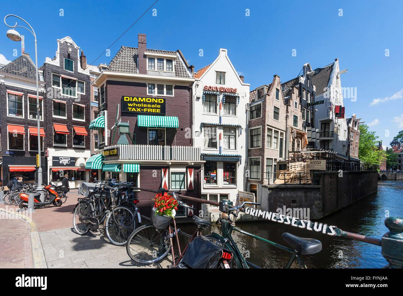 Amsterdam diamont factory , Grimnesssluis, bicycles, tulips,  Amsterdam, Netherlands - Stock Image