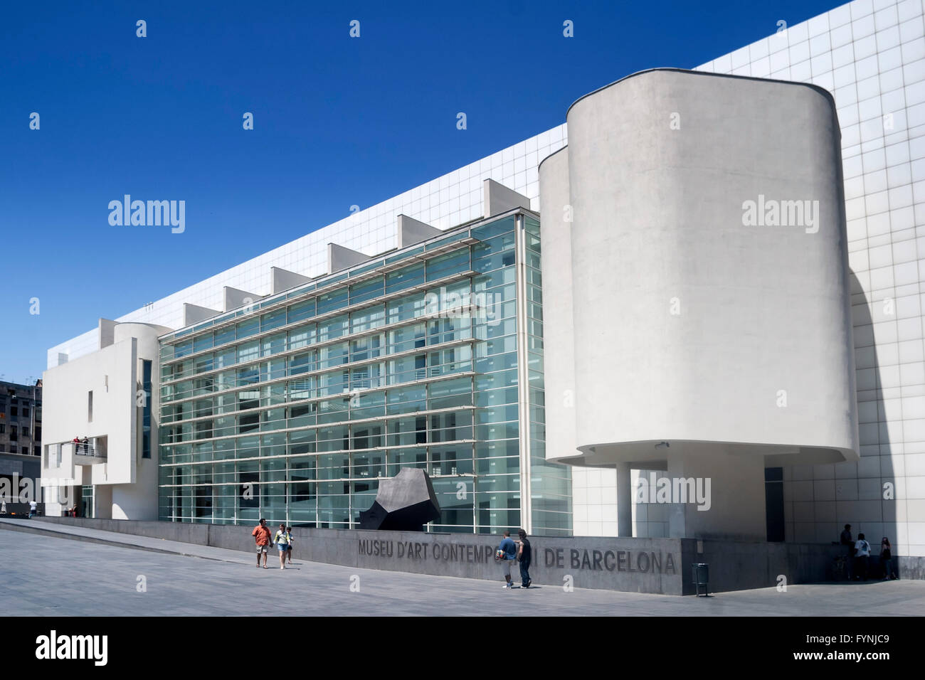 MACBA, Museum of Modern Art , Architect Richard Meier, Square of Angels, Raval, Barcelona (Editorial Use only) - Stock Image