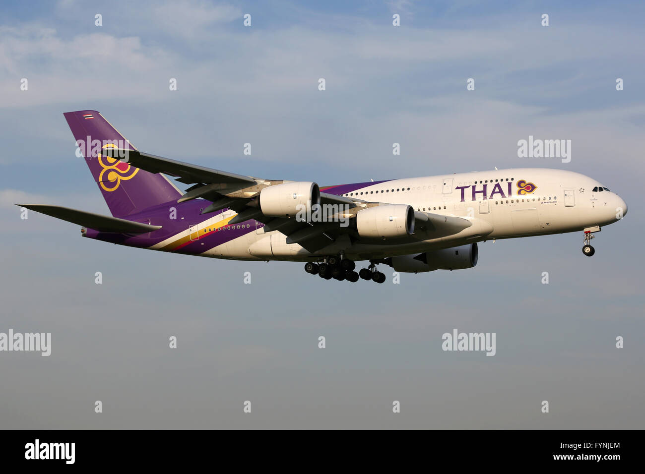 Tokyo, Japan - October 9, 2015: A Thai Airways Airbus A380-800 with the registration HS-TUF landing at Tokyo Narita - Stock Image