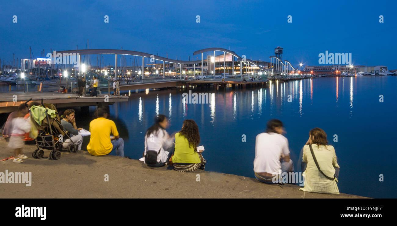 Rambla de Mar, Port Vell, Maremagnum, Barcelona, Spain - Stock Image