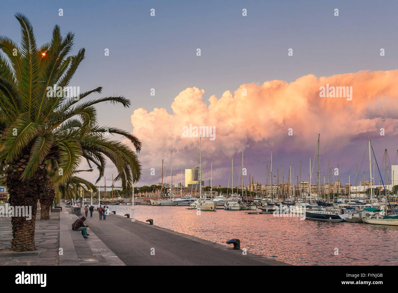 Promenade, Boats, Port Vell, Sunset,  Barcelona, Catalonia, Spain - Stock Image