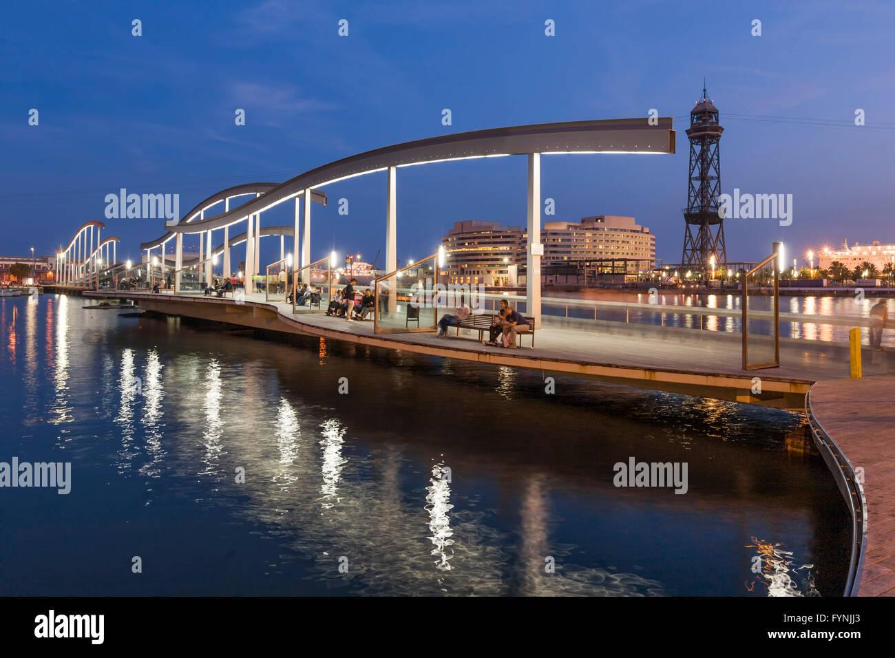 Footbridge, Rambla de Mar, Twilight, Port Vell, Barcelona, Catalunya, Spain - Stock Image