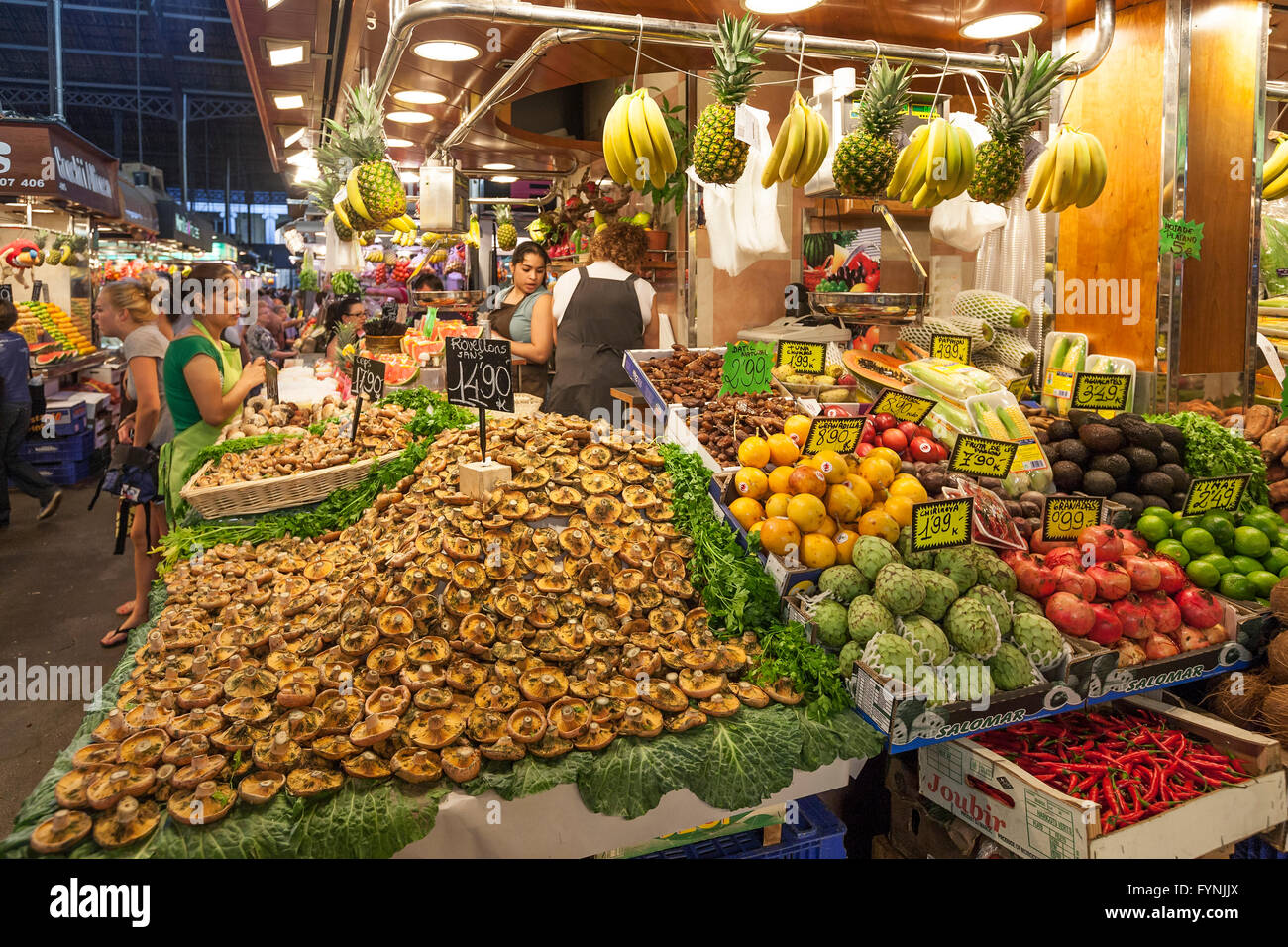 Fruits and vegetables,  Mercat de Sant Josep, Boqueria market, La Rambla, , Barcelona, Spain Stock Photo