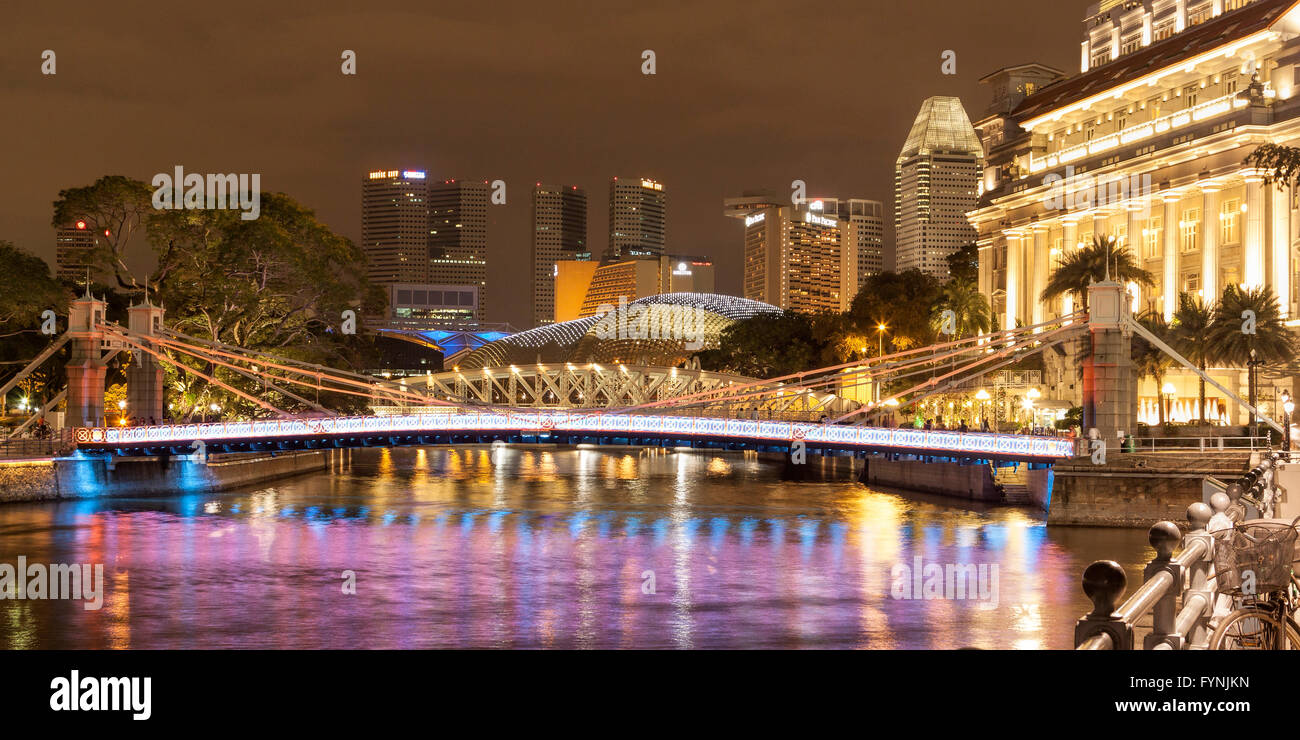 The Fullerton Hotel , Skyline, Twilight, Singapore River, Southeast Asia - Stock Image