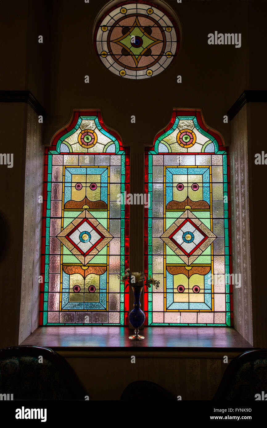 One of several stained glass windows in Langford Mansion, Walcha NSW Australia. - Stock Image
