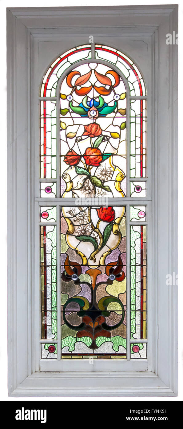 One of several stained glass windows in Langford Mansion, Walcha NSW Australia. Featuring Australian native flowers. - Stock Image