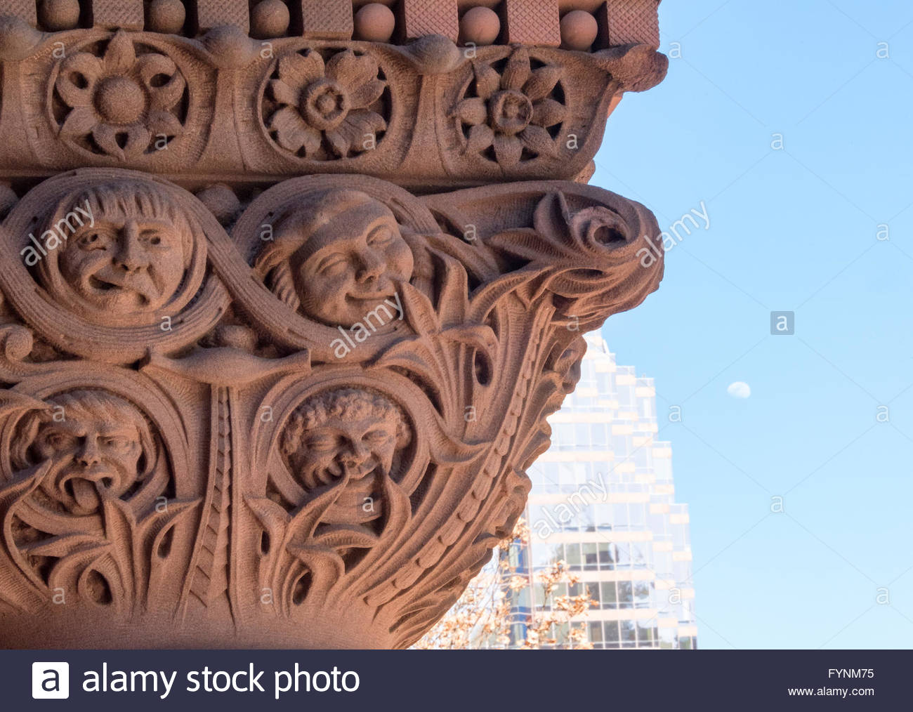 Old City Hall Romanesque Revival Architecture. The landmark is part of the city heritage and a major tourist landmark - Stock Image
