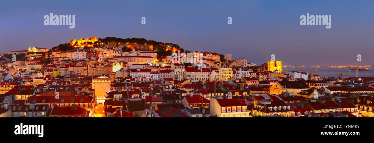 Colorful Lisbon panorama at beautiful twilight. Portugal - Stock Image