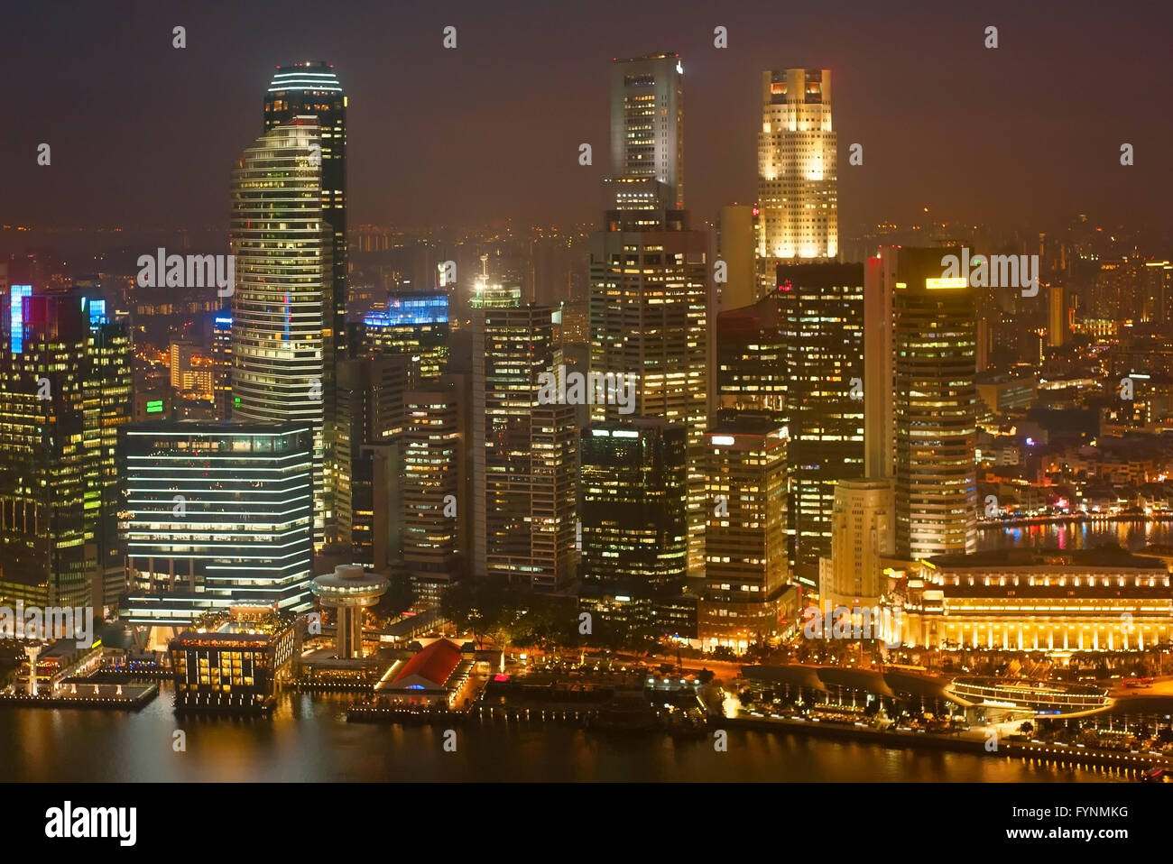 Singapore Downtown Core business architecture at night - Stock Image