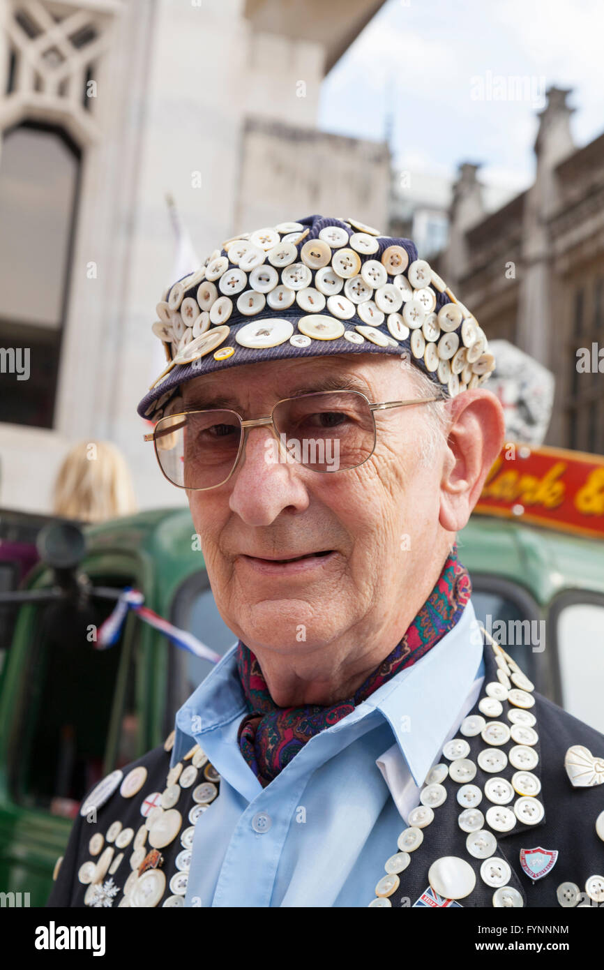George Davison, the Pearly King of Newham, at the annual Pearly Kings and Queens Autumn Festival, Guildhall, London - Stock Image
