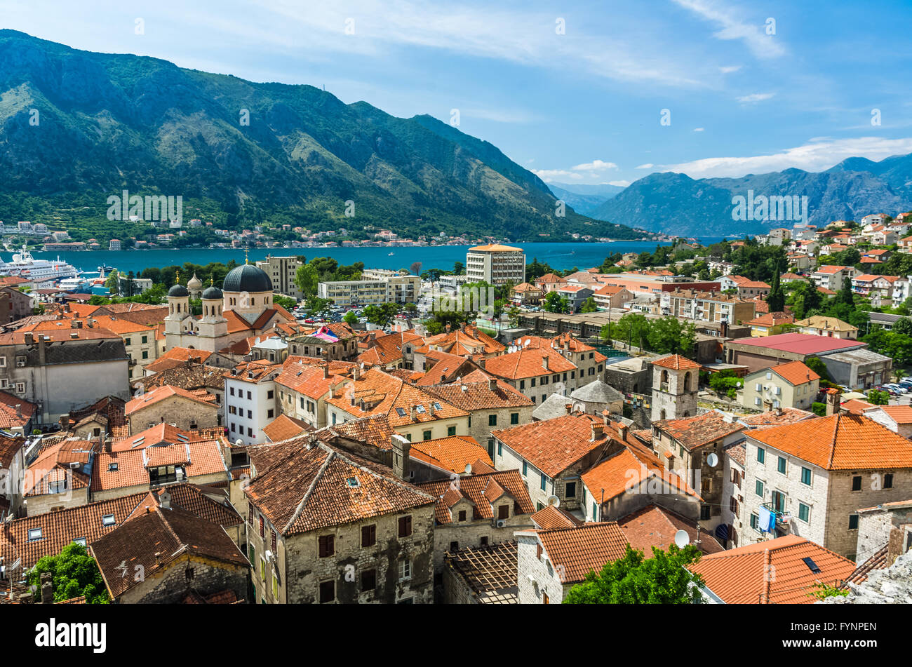 Top view on Kotor city and bay Stock Photo