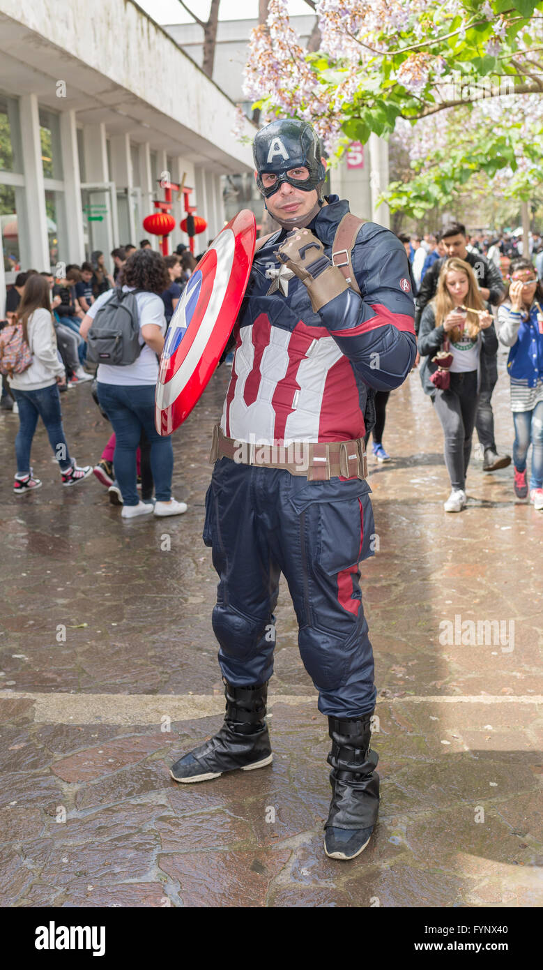NAPLES, ITALY- APRIL 22: cosplay Captain America pose during the 18th edition of