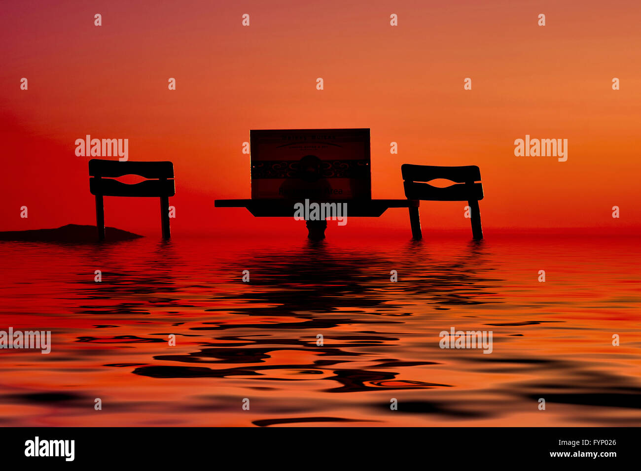 An empty table and chairs bathing in a deep red sunset on the island of Santorini Greece digitally enhanced into - Stock Image