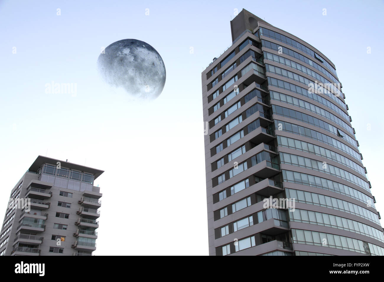 Giant moon over Buenos Aires - Stock Image