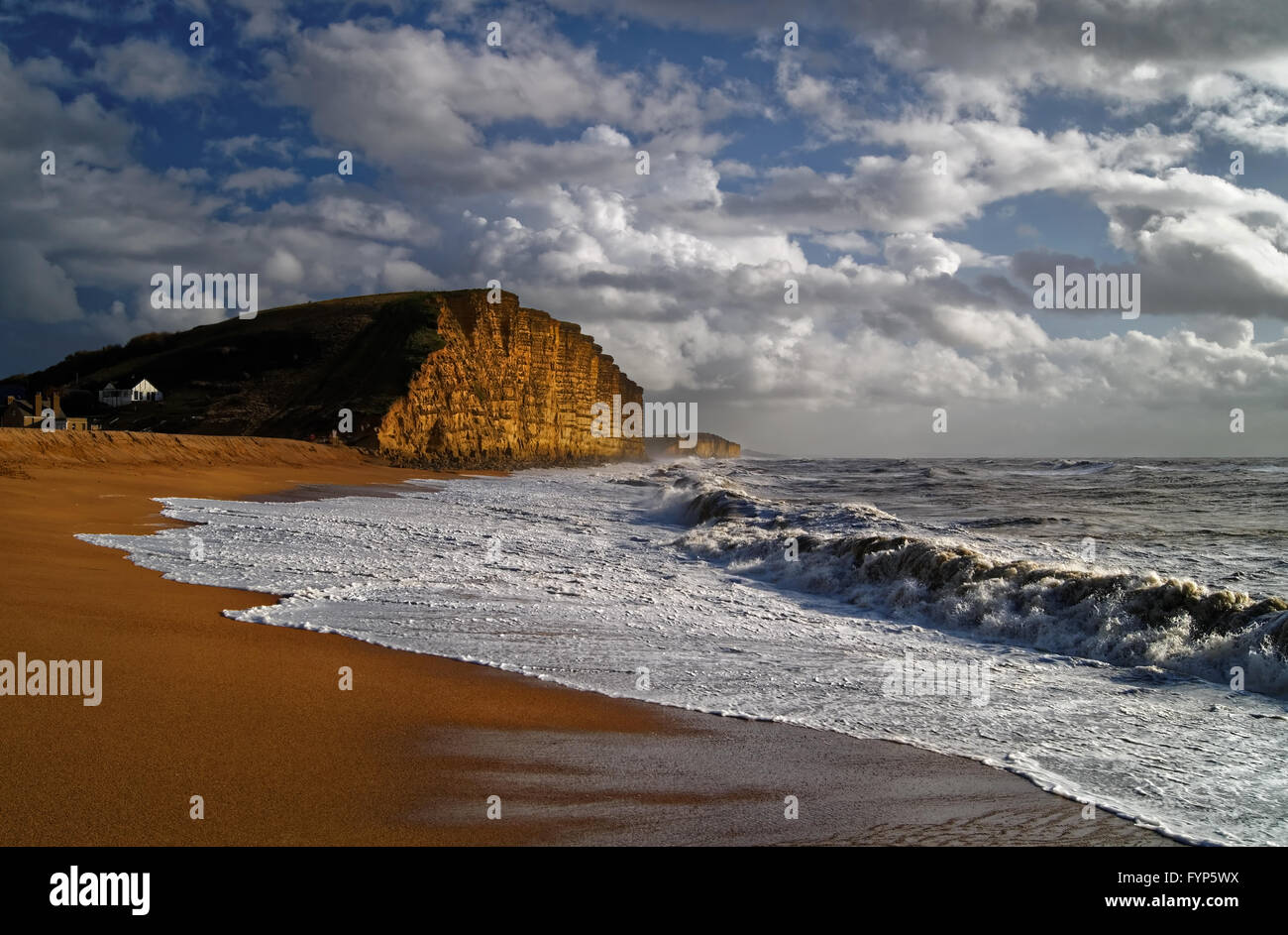 UK, Dorset, Jurassic Coast, West Bay on a Stormy Winters Day - Stock Image